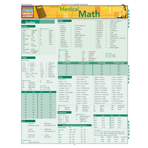 Read pdf medical math (laminated reference guide; quick study academi….